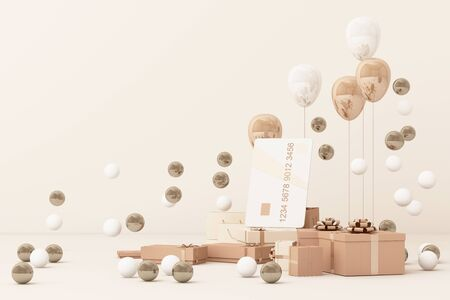 Pink credit card surrounding by a lot of gift boxs and balloons. 3d rendering