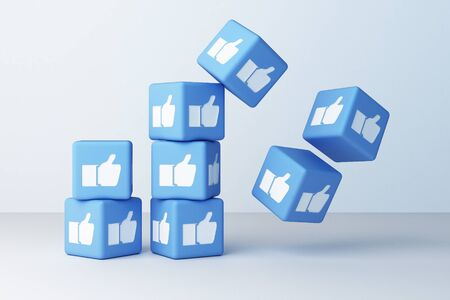 Blue Like icon designed 3d box with white background. 3d rendering Reklamní fotografie
