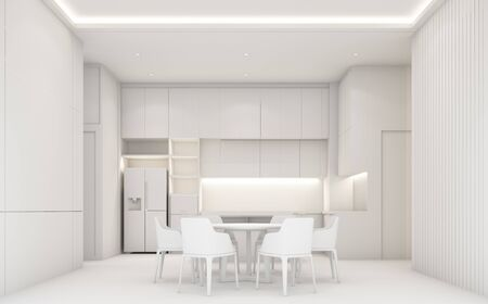 Modern luxury dining area and kitchen with wooden and marble texture, all white concept. 3d rendering
