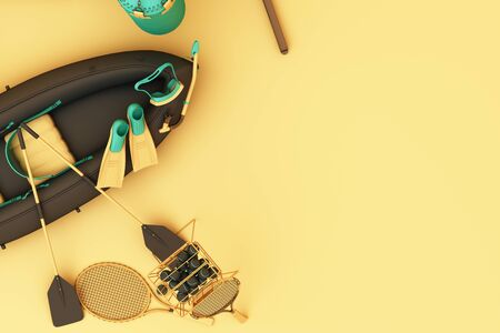 Sport equipment on yellow background top view. 3d rendering