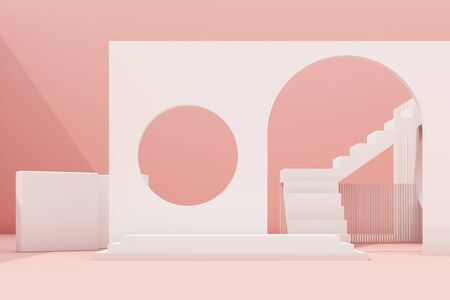 Geometric shape composition with stair and arch on pink background. 3d rendering