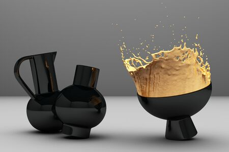 Splashes of yellow liquid in a black vase on a light background. 3d rendering Stockfoto