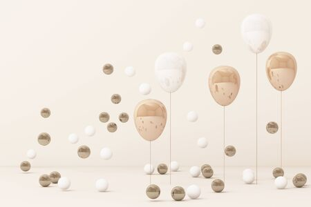 Pink  balloon  surrounding by a lot of gold and white ball. 3d rendering