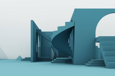 Geometric shape composition with stair and arch on green background. 3d rendering