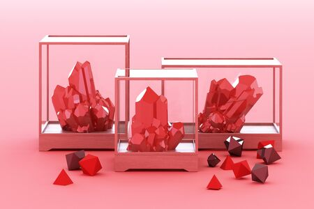 Product of red mineral formation, minerals, quartz, gems, diamonds. 3d rendering