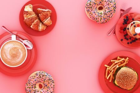 Coffee cup and croissant and hamburger in the plate on pink background. 3d render