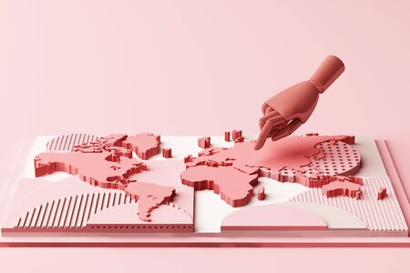 World map with humans hand concept abstract composition of geometric shapes platforms in pastel pink tone. 3d rendering