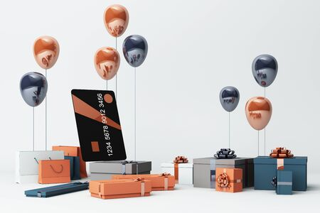 Black credit card surrounding by a lot of giftboxs and balloons. 3d rendering Stok Fotoğraf