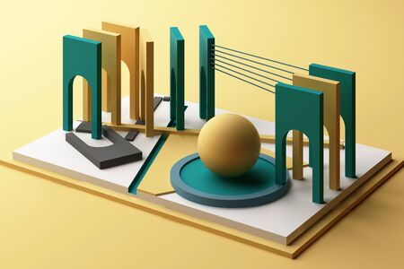 3d rendering geometric composition in yellow and green tone color. Фото со стока