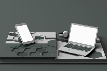 Laptop,smartphone and headphone with technology concept abstract composition of geometric shapes platforms in grey color. 3d rendering Reklamní fotografie