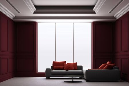 3d rendering illustration of living room with red luxury classic wall panel. Zdjęcie Seryjne