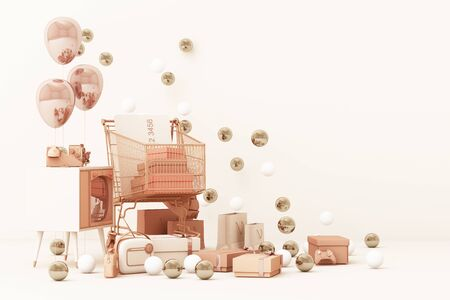 Supermarket shopping cart surrounding by gift box with credit card and many gadget on pink background. 3d rendering Фото со стока