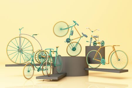 Many bicycle on platform with yellow background. Retro bike. 3d rendering