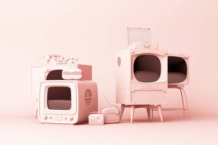 Old televisions and vintage radio player on a pink background. 3D rendering