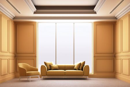 3d rendering illustration of living room with yellow luxury classic wall panel.