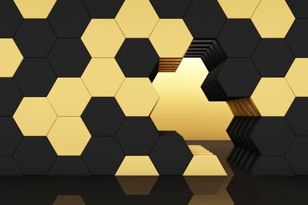 honeycomb yellow and black studio set scene 3d render abstract minimal background Reklamní fotografie - 131468360