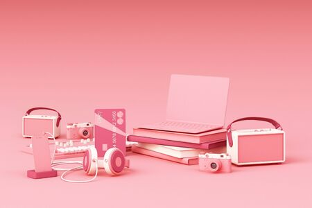 Laptop surrounding by colorful gadgets on pink background. 3d rendering