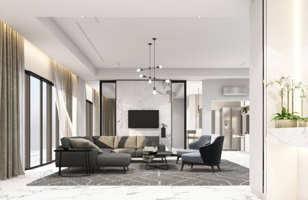 Interior living area in modern luxury style. 3D rendering Foto de archivo