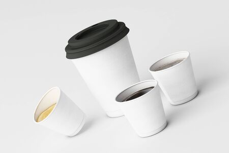 Set of white coffee cups on white background. 3d rendering