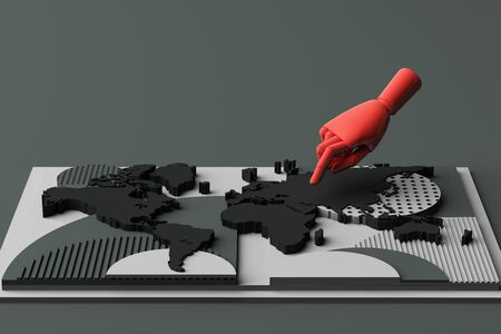 World map with humans hand concept abstract composition of geometric shapes platforms in black tone. 3d rendering Stok Fotoğraf