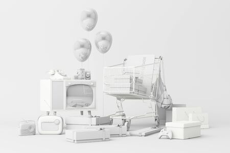 Supermarket shopping cart surrounding by gift box with credit card and many gadget on white background. 3d rendering Фото со стока