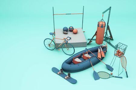 Sport equipment on green background. 3d rendering