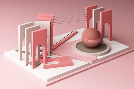 3d rendering geometric composition in pink tone color.