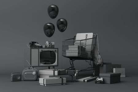 Supermarket shopping cart surrounding by gift box with credit card and many gadget on black background. 3d rendering Фото со стока
