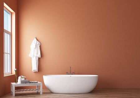 Bathroom design modern and Loft with orange wall. 3d rendering 스톡 콘텐츠