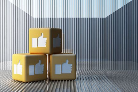 Yellow Like icon 3d box with white background. 3d rendering