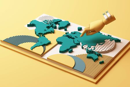 World map with humans hand and bomb concept abstract composition of geometric shapes platforms in yellow and green tone. 3d rendering
