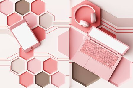 Laptop,smartphone and headphone with technology concept abstract composition of geometric shapes platforms in pastel pink tone. 3d rendering