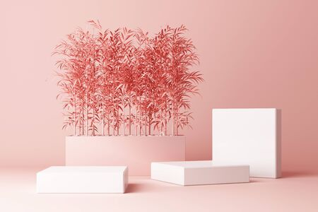 3D render of tropical plants isolated on pink background.