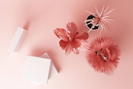 3D render top view of tropical plants isolated on pink background.