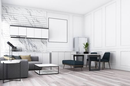 Modern luxury living and dining area front of  kitchen with classic wall decorate and grey furniture. 3d render