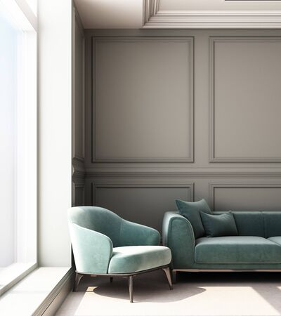 3d rendering illustration of living room with luxury classic wall panel and sofa.