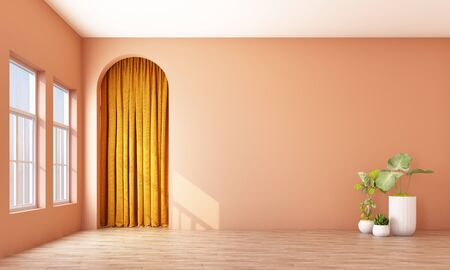 Modern memphis interior with orange wall and yellow curtain arch. 3d rendering