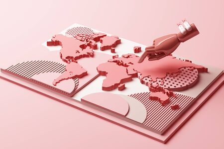 World map with humans hand and bomb concept abstract composition of geometric shapes platforms in pastel pink tone. 3d rendering