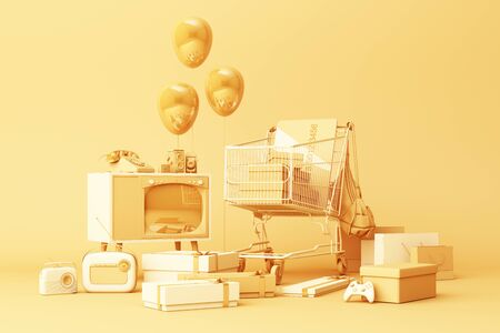 Supermarket shopping cart surrounding by gift box with credit card and many gadget on yellow background. 3d rendering