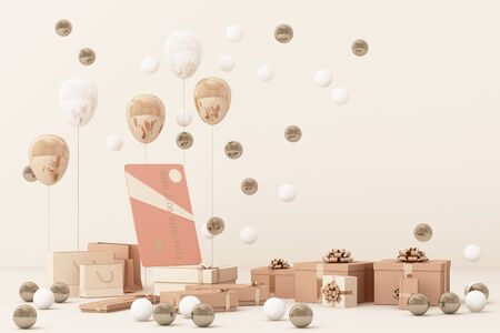 Pink credit card surrounding by a lot of gift box and balloons. 3d rendering