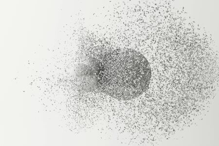 Two balls clashing together resulting in smashed breakup on white background. 3d rendering Archivio Fotografico - 131469616