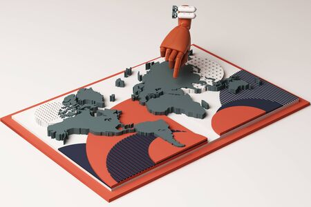 World map with humans hand and bomb concept abstract composition of geometric shapes platforms in orange and blue tone. 3d rendering