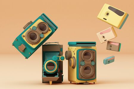 Colorful vintage camera on a cream background.-3d render.