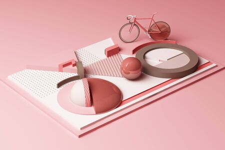 Geometric Shape of Bike Sport Concept in pastel pink colour tone. 3d Rendering