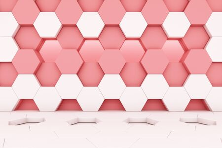 honeycomb pink and white studio set scene 3d render abstract minimal background