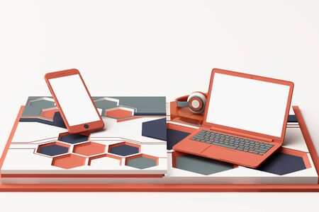 Laptop,smartphone and headphone with technology concept abstract composition of geometric shapes platforms in orange and blue color. 3d rendering