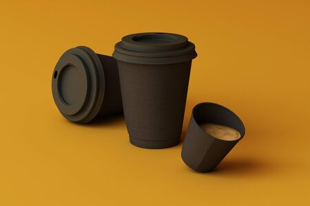 Set of black coffee cups on yellow background. 3d rendering