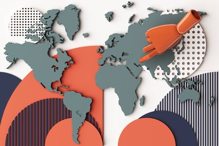 World map with humans hand concept abstract composition of geometric shapes platforms in orange and blue tone. 3d rendering