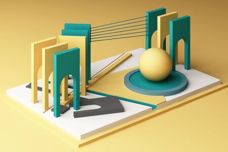 3d rendering geometric composition in yellow and green tone color. Banco de Imagens