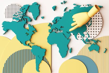World map with humans hand concept abstract composition of geometric shapes platforms in yellow and green tone. 3d rendering
